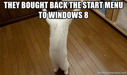 praise the lord cat - THEY BOUGHT BACK THE START MENU TO WINDOWS 8