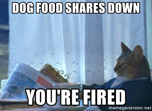 newspaper cat realization - Dog food shares Down You're Fired