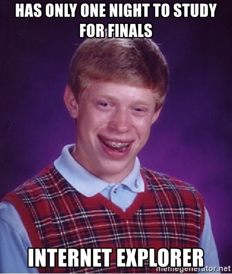 Bad Luck Brian - Has only one night to study for finals Internet explorer