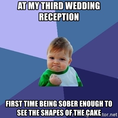 Success Kid - At my third wedding reception  First time being sober enough to see the shapes of the cake