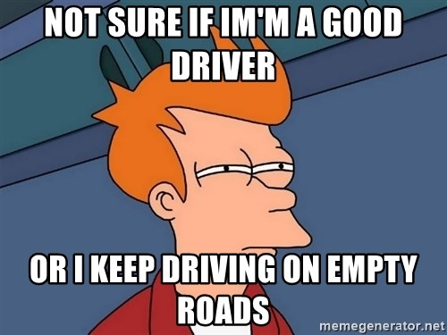 Futurama Fry - not sure if im'm a good driver or i keep driving on empty roads
