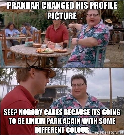 See? Nobody Cares - Prakhar changed his profile picture See? Nobody cares because its going to be linkin park again with some different colour