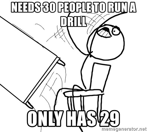 Desk Flip Rage Guy - NEEDS 30 PEOPLE TO RUN A DRILL ONLY HAS 29
