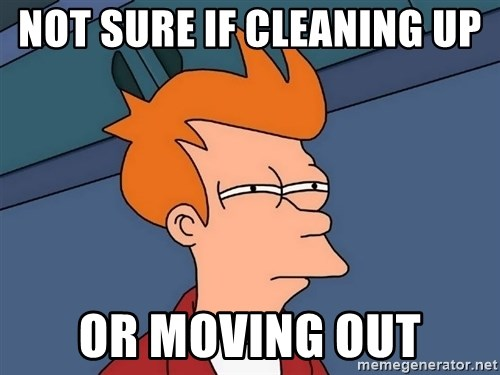 Futurama Fry - NOT SURE IF CLEANING UP  OR MOVING OUT