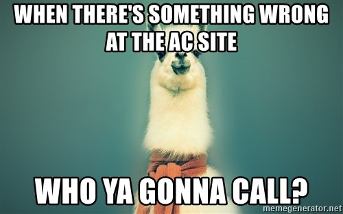 Pancakes llama - when there's something wrong at the Ac site who ya gonna call?