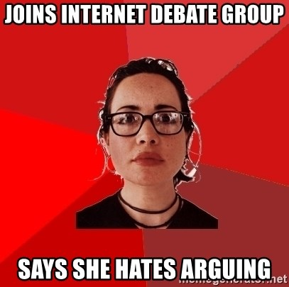 Liberal Douche Garofalo - Joins internet debate group says she hates arguing
