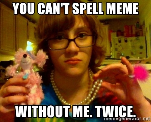 gay shitty idiot - you can't spell meme without me. twice.