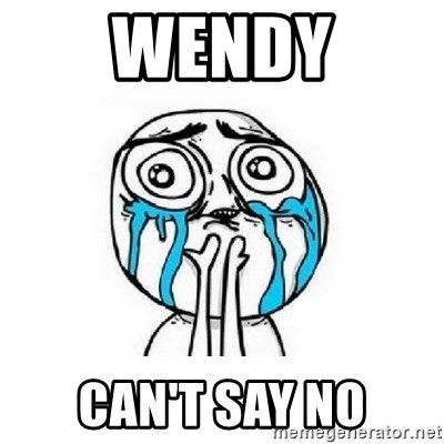 crying - Wendy can't say no
