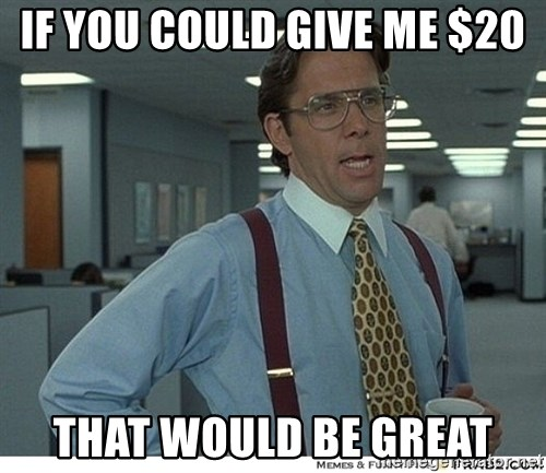 That would be great - If you could give me $20 THAT WOULD BE GREAT