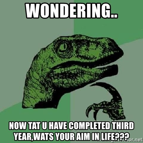 Philosoraptor - Wondering.. Now tat u have completed third year,wats your aim in life???