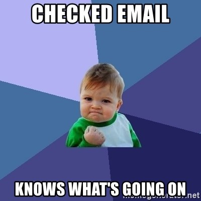 Success Kid - CHECKED EMAIL KNOWS WHAT'S GOING ON