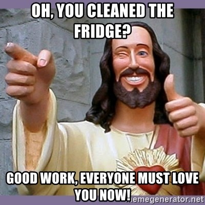 buddy jesus - Oh, You cleaned the fridge? Good Work, Everyone must love you now!