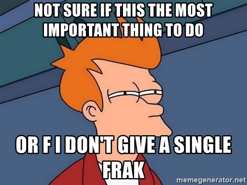Futurama Fry - Not sure if this the most important thing to do or f I don't give a single frak