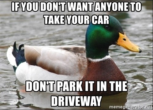 Actual Advice Mallard 1 - If you don't want anyone to take your car Don't park it in the driveway