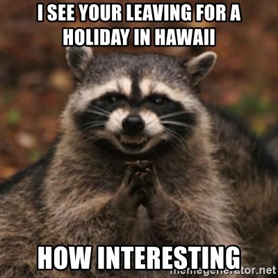 evil raccoon - I SEE YOUR LEAVING FOR A HOLIDAY IN HAWAII HOW INTERESTING