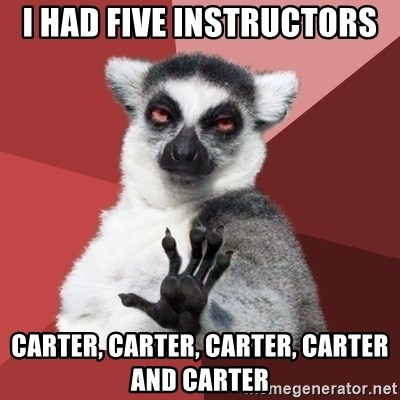 Chill Out Lemur - I had five instructors  Carter, Carter, Carter, Carter and Carter