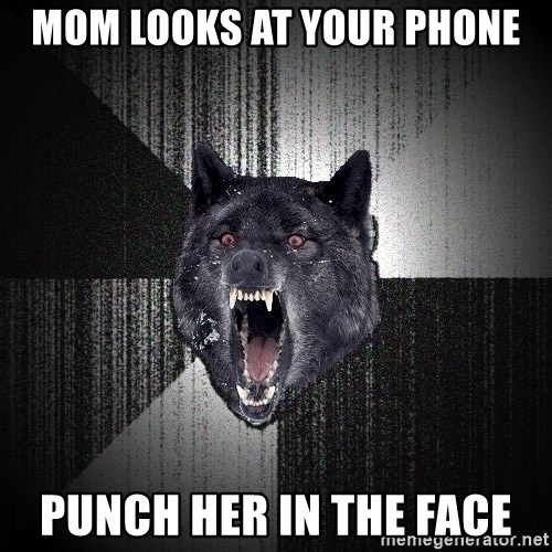 Insanity Wolf - Mom looks at your phone Punch her in the face