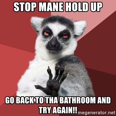 Chill Out Lemur - Stop mane hold up Go back to tha bathroom and try again!!