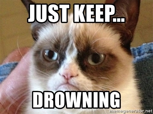 Angry Cat Meme - Just keep... drowning