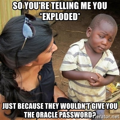 So You're Telling me - So You're Telling me you *exploded* just because they wouldn't give you the oracle password?