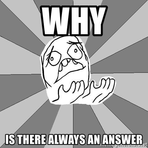 Whyyy??? - why is there always an answer
