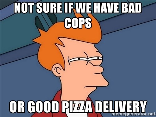 Futurama Fry - Not Sure If We Have Bad Cops Or Good Pizza Delivery