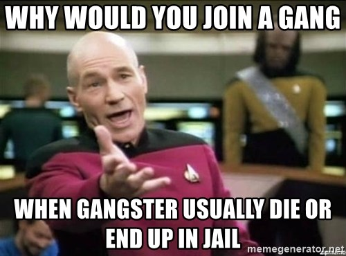 Why the fuck - Why would you join a gang  when gangster usually die or end up in jail