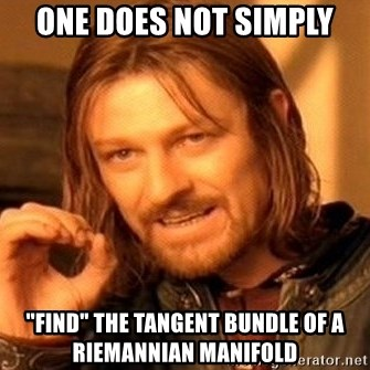 "One Does Not Simply - One does not simply ""Find"" the tangent bundle of a riemannian manifold"