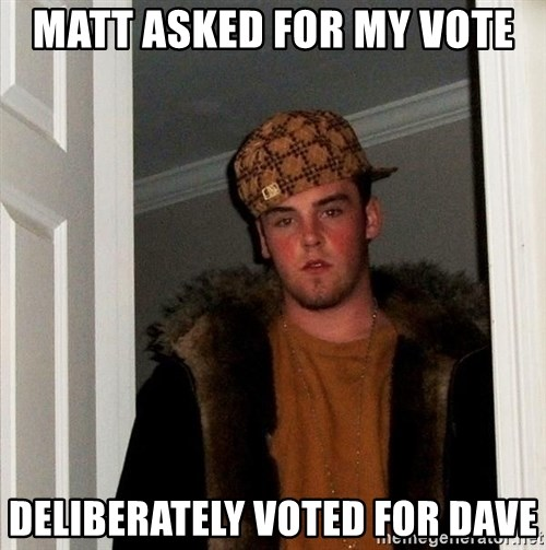 Scumbag Steve - Matt asked for my vote deliberately voted for dave