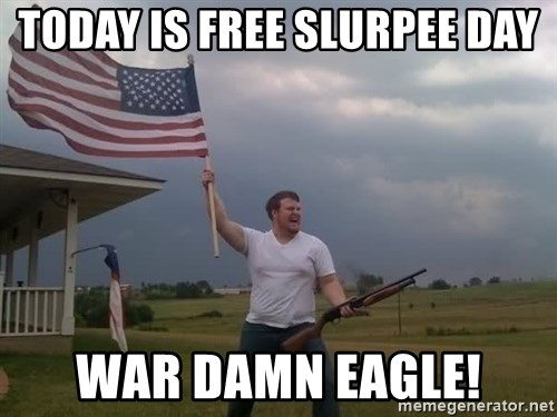 american flag shotgun guy - Today is Free slurpee day war damn eagle!