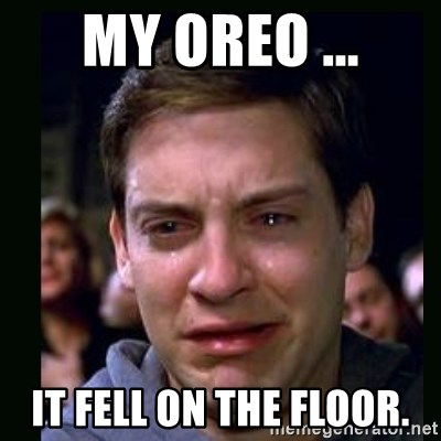 crying peter parker - my oreo ... it fell on the floor.