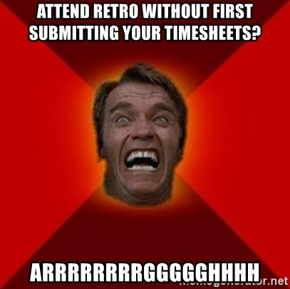 Angry Arnold - Attend retro without first submitting your timesheets? ARRRRRRRRGGGGGHHHH