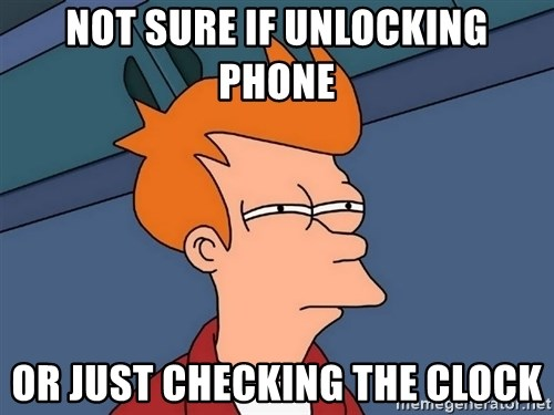Futurama Fry - Not sure if unlocking phone Or just checking the clock