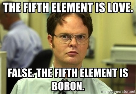 Dwight Schrute - The fifth element is love. false. the fifth element is boron.