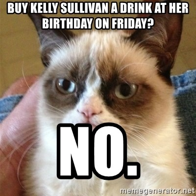 Grumpy Cat  - Buy Kelly Sullivan a drink at her birthday on Friday? NO.