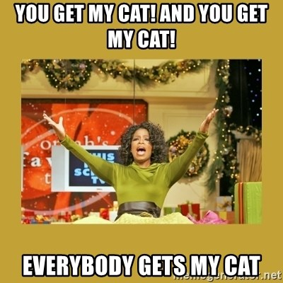 Oprah You get a - You get my cat! and you get my cat! everybody gets my cat