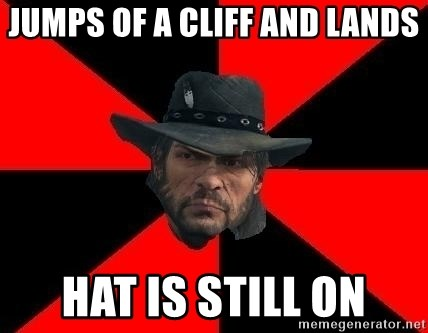 John Marston - JUMPS OF A CLIFF AND LANDS HAT IS STILL ON
