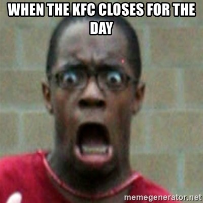 SCARED BLACK MAN - WHEN THE KFC CLOSES FOR THE DAY