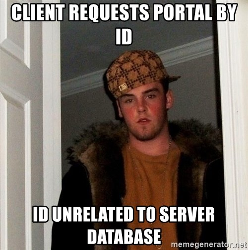 Scumbag Steve - Client requests portal by ID ID unrelated to server database