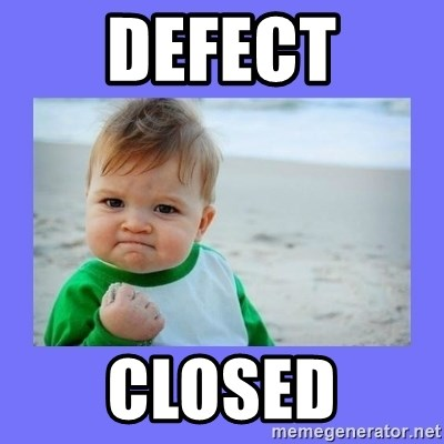 Baby fist - defect closed