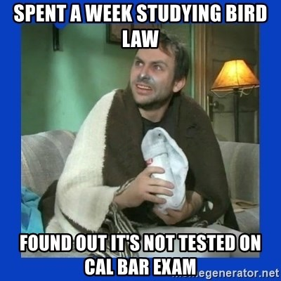 Charlie Day - spent a week studying bird law found out it's not tested on cal bar exam