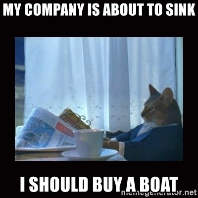 i should buy a boat cat - My company is about to sink i should buy a boat
