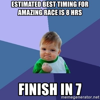 Success Kid - Estimated best timing for amazing race is 8 hrs finish in 7