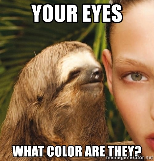 The Rape Sloth - your eyes what color are they?