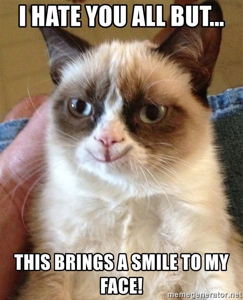 Happy Grumpy Cat 2 - I Hate you all but... this brings a smile to my face!