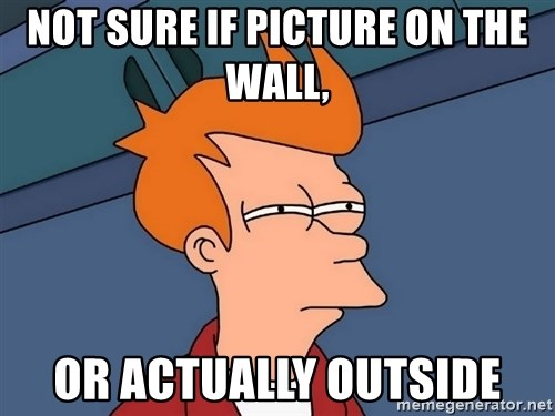 Futurama Fry - Not sure if picture on the wall, Or actually outside