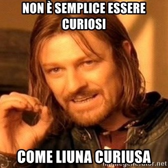 One Does Not Simply - Non è semplice essere curiosi come liuna curiusa