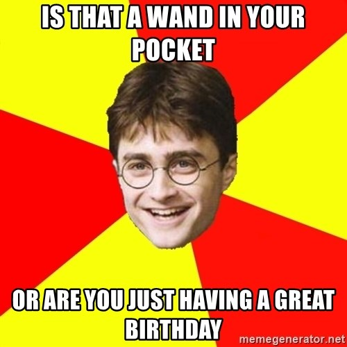 cheeky harry potter - is that a wand in your pocket or are you just having a great birthday