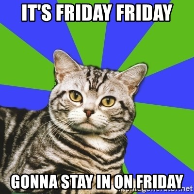 Introvert Cat - It's friday friday gonna stay in on friday