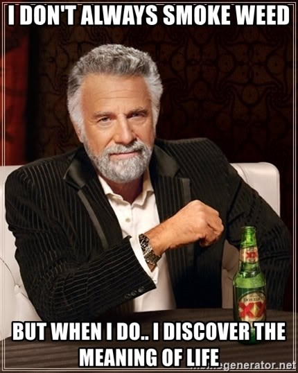 The Most Interesting Man In The World - i don't always smoke weed but when i do.. i discover the meaning of life